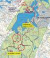 Avo- ja siemenpuuhakkuut sijaitsevat punaisin ympyröin merkityillä alueilla. Pohjakartta: Taruksen kämpät ja laavut- esite, Hämeenlinnan kaupunki 2019